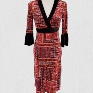 Anthro hazel ornate oriental velvet surplice boho bell sleeve dress size small